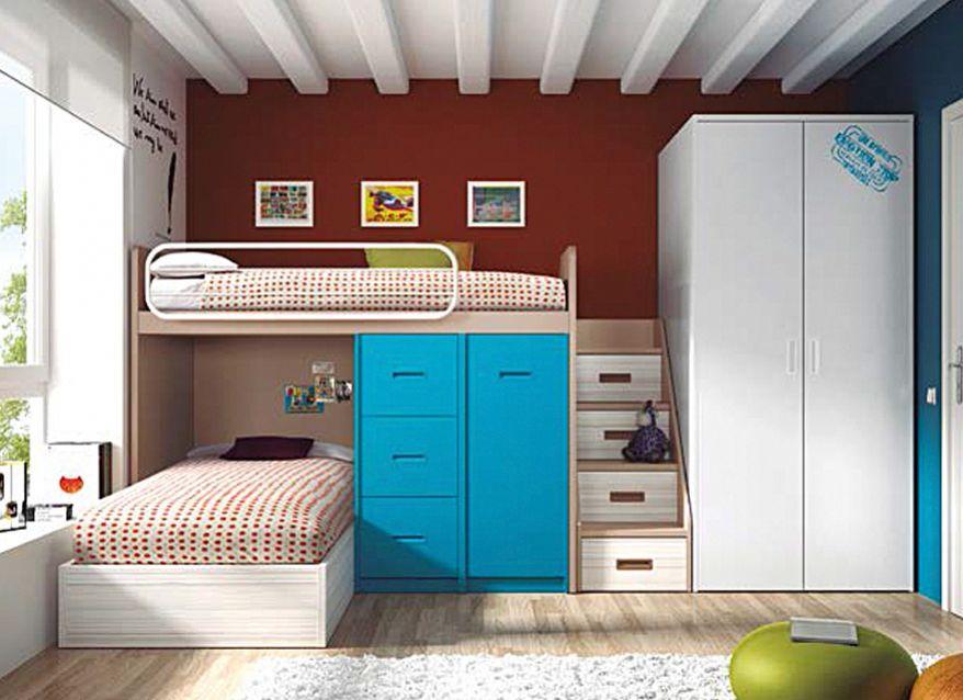 dormitorio juvenil 2 camas y armario