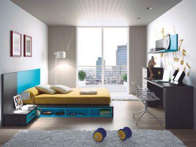 Dormitorio juvenil en turquesa y amarillo