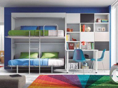 dormitorio juvenil con litera abatible